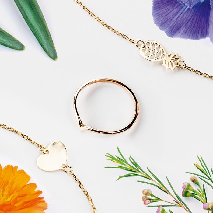 biżuteria, ananas, pierścionek trójkąt, serduszko